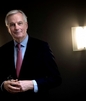 European Union's chief Brexit negotiator Michel Barnier poses for photographs during his visit to Denmark's Prime Minister Lars Loekke Rasmussen at the Prime Ministers residence Marienborg
