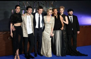 """Writer J.K. Rowling poses with members of the cast as they arrive for the European premiere of the film """"Fantastic Beasts and Where to Find Them"""" at Cineworld Imax, Leicester Square in London"""