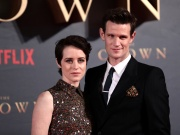 "Actors Claire Foy, who plays Queen Elizabeth II, and Matt Smith who plays Philip Duke of Edinburgh, attend the premiere of ""The Crown"" Season 2 in London"