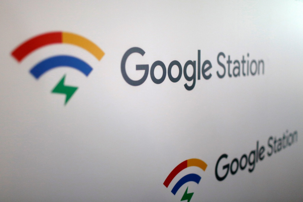 Sign shows the logo of Google Station before news conference in Mexico City