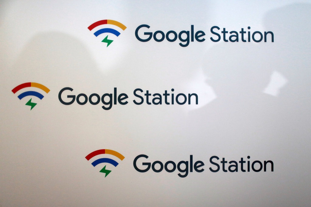 Sign shows Google Station logo before news conference in Mexico City