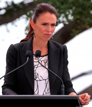 New Zealand Prime Minister Jacinda Ardern reacts during a joint press conference with Australia's Prime Minister Malcolm Turnbull after their bilateral discussions on economic and security issues in Sydney
