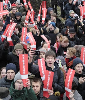 Supporters of Russian opposition leader Navalny attend a rally in St. Petersburg