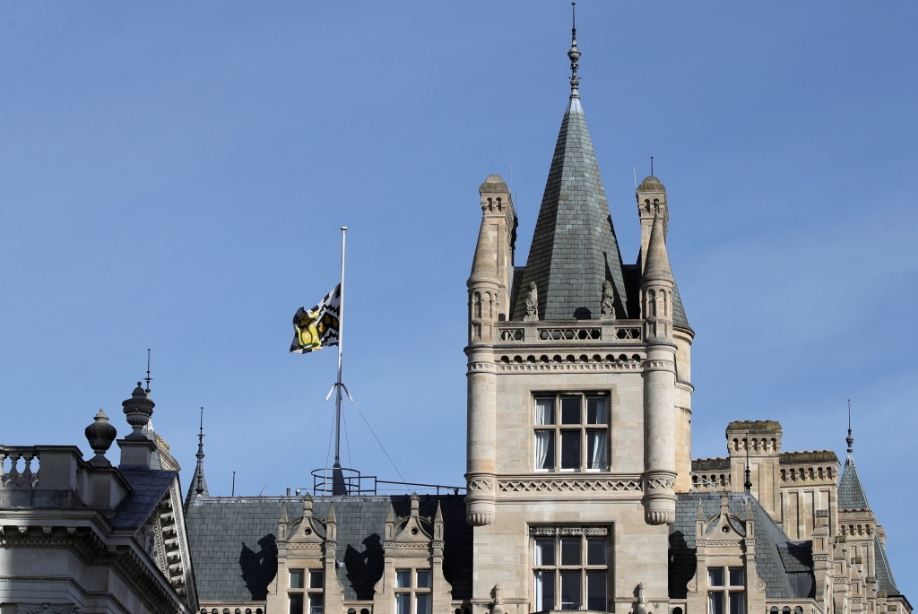 A flag flies at half mast over Gonville and Caius College at the University of Cambridge following the death of Professor Stephen Hawking, in Cambridge