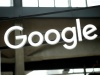 """The Google logo is seen at the """"Station F"""" start up campus in Paris"""