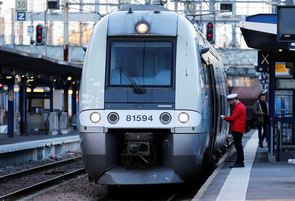 A train arrives at the French state-owned railway company SNCF station in Bordeaux