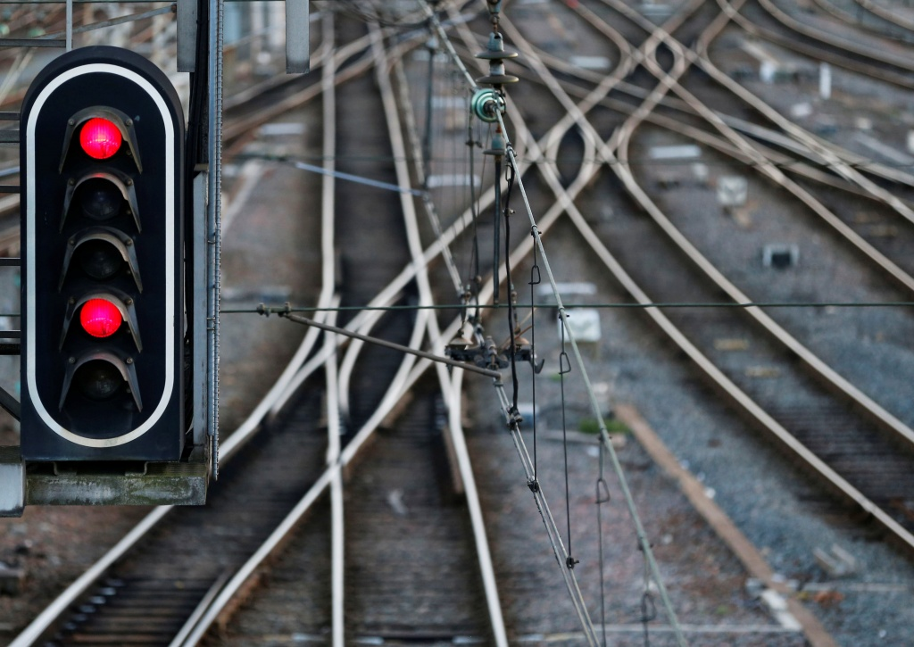 Rail tracks and red lights are seen at the French state-owned railway company SNCF's station in Bordeaux