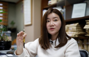 Lee Eun-eui who used to be a Samsung employee and is currently a lawyer, speaks during an interview with Reuters in Seoul