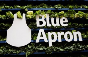 The Blue Apron logo is pictured ahead of the company's IPO on the New York Stock Exchange in New York,