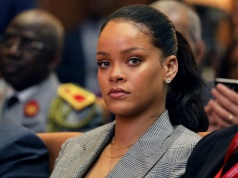 "Singer Rihanna attends the conference ""GPE"