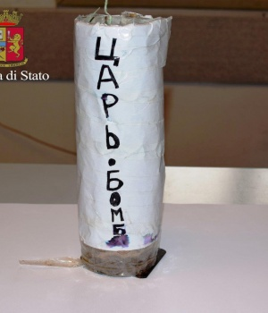 A handmade bomb is seen in this picture released by Italian Police in Viterbo
