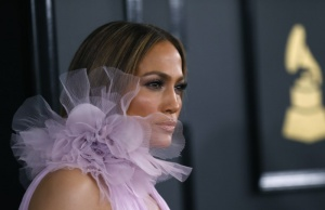 Singer Jennifer Lopez arrives at the 59th Annual Grammy Awards in Los Angeles
