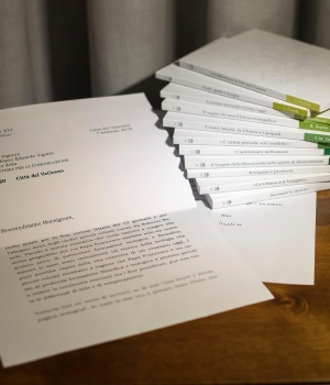 A series of 11 booklets on The Theology of Pope Francis and a letter from former Pope Benedict, which was read out at the presentation of the work, are seen at the Vatican