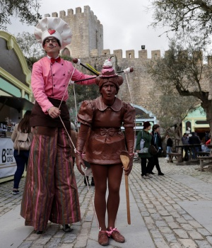 Entertainers perform during international chocolate fair in Obidos