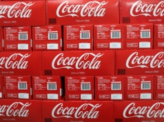 Coca-Cola cartons are seen in a Casino supermarket in Mouans Sartoux