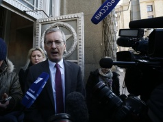 British Ambassador to Russia Laurie Bristow leaves the Russian Foreign Ministry in Moscow
