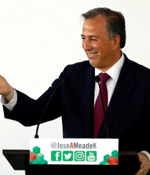 Institutional Revolutionary Party candidate Jose Antonio Meade addresses supporters after registering as presidential candidate at the National Electoral Institute in Mexico City