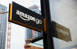 A sign for the new Amazon Go store on 7th Avenue at Amazon's Seattle headquarters in Seattle