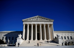 Police officers stand in front of the U.S. Supreme Court in Washington