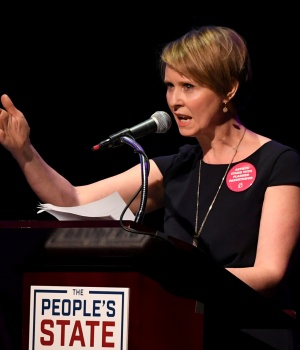 "Actress Cynthia Nixon speaks during the ""People's State of the Union"" event in Manhattan"
