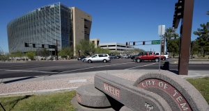 Traffic passes an intersection just north of the location where a woman pedestrian was struck and killed by an Uber self-driving sport utility vehicle in Tempe