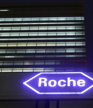 Swiss drugmaker Roche's logo is seen at their headquarters in Basel