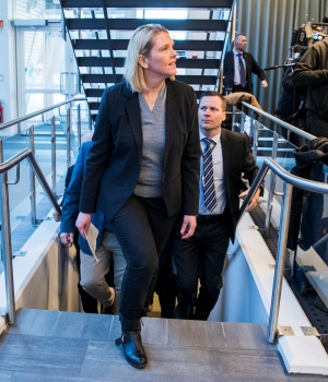 Norway's Justice Minister Sylvi Listhaug announces her resignation in Oslo