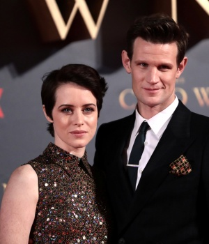 """Actors Claire Foy, who plays Queen Elizabeth II, and Matt Smith who plays Philip Duke of Edinburgh, attend the premiere of """"The Crown"""" Season 2 in London"""