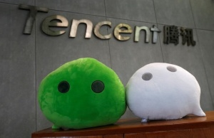 WeChat mascots are displayed inside Tencent office in Guangzhou