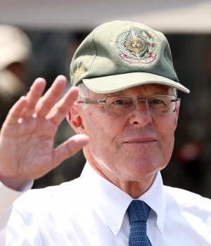Peru's President Pedro Pablo Kuczynski participates in a military event at Rimac army headquarters in Lima