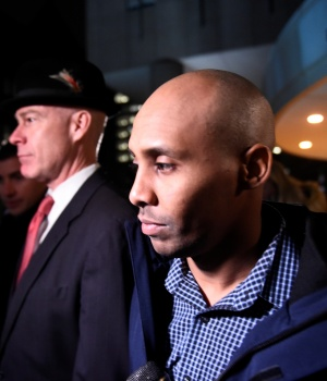 Former Minneapolis police officer Mohamed Noor and his attorney Tom Plunkett leave the Hennepin County jail after posting bail in Minneapolis, Minnesota
