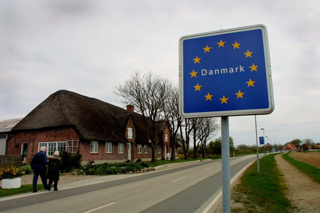 The border crossing between Denmark and Germany is seen at Rudboel