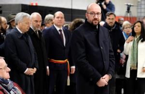 Belgium's PM Michel attends a ceremony at the Maelbeek metro station to commemorate two years since bombings at Brussels airport and a metro station, in Brussels
