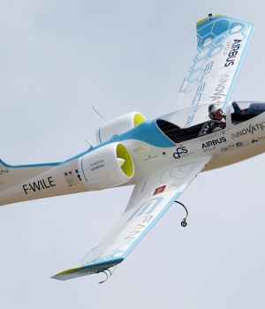 An Airbus E-Fan.1, an electrical aircraft, participates in a flying display during the Paris Air Show