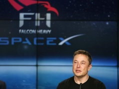 SpaceX founder Musk speaks at a press conference following the first launch of a SpaceX Falcon Heavy rocket in Cape Canaveral