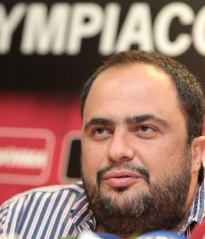 Olympiakos Piraeus president Marinakis addresses reporters during a presentation of a new player in Piraeus