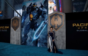 "Cast member Ji poses at the premiere for ""Pacific Rim: Uprising"" in Los Angeles"