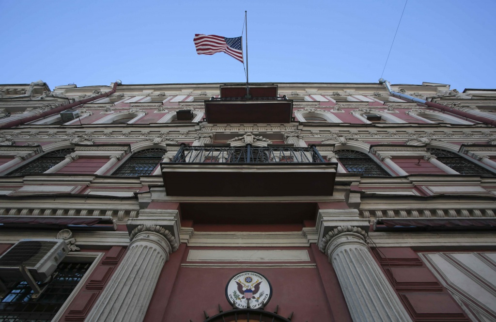 The state flag of the U.S. flies outside the building of the country's consulate-general in St. Petersburg