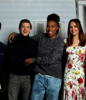 "Cast members Morisaki, Sheridan, Waithe, Cooke and Zhao pose for a portrait while promoting the movie ""Ready Player One"" in Los Angeles"