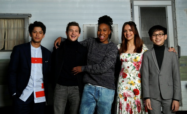 Cast members Morisaki, Sheridan, Waithe, Cooke and Zhao pose for a portrait while promoting the movie