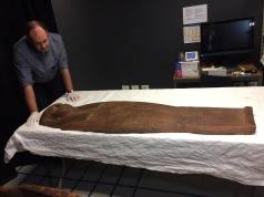 A 2,500-year old coffin that may contain a mummy lies at the University of Sydney