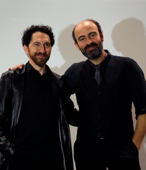 Kevork Mourad and Kinan Azmeh pose for a photograph after their performance in Beirut