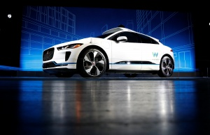 A Jaguar I-PACE self-driving car is pictured during its unveiling by Waymo in the Manhattan borough of New York City