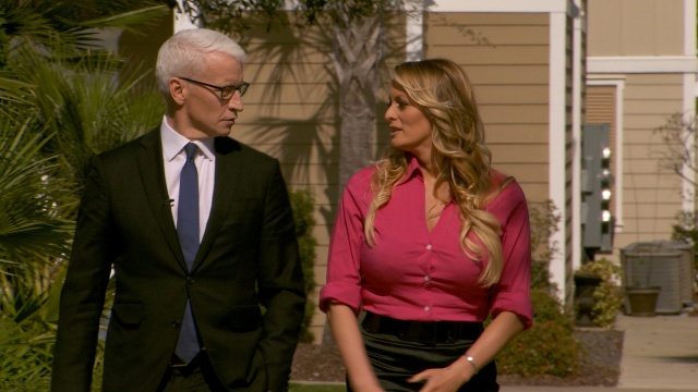 Stormy Daniels is interviewed by Anderson Cooper of CBS News' 60 Minutes program