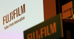 Fujifilm Holdings' logos are pictured ahead of its news conference in Tokyo