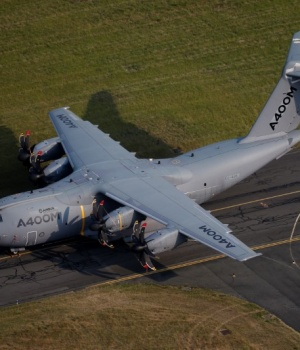An aerial view of an Airbus A400M aircraft during the 52nd Paris Air Show at Le Bourget Airport near Paris