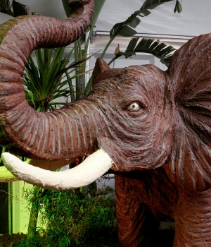 A chocolate sculpture of an elephant is seen during the chocolate sculpture festival in Durbuy