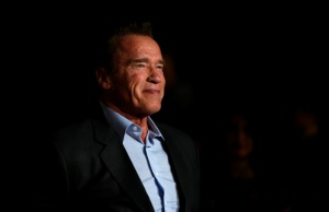 "Actor Schwarzenegger poses at a premiere for ""The 15:17 to Paris"" in Burbank"