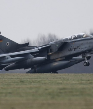 A German air force Tornado jet takes off from the German army Bundeswehr airbase in Jagel