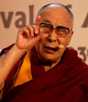 "Tibetan spiritual leader, the Dalai Lama, speaks at an interactive session organised by Indian Chamber of Commerce on ""Revival of Ancient Knowledge"" in Kolkata"